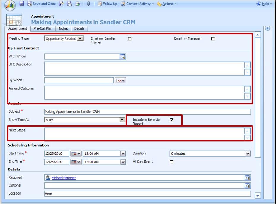 using the framework for calendaring a microsoft dynamics crm