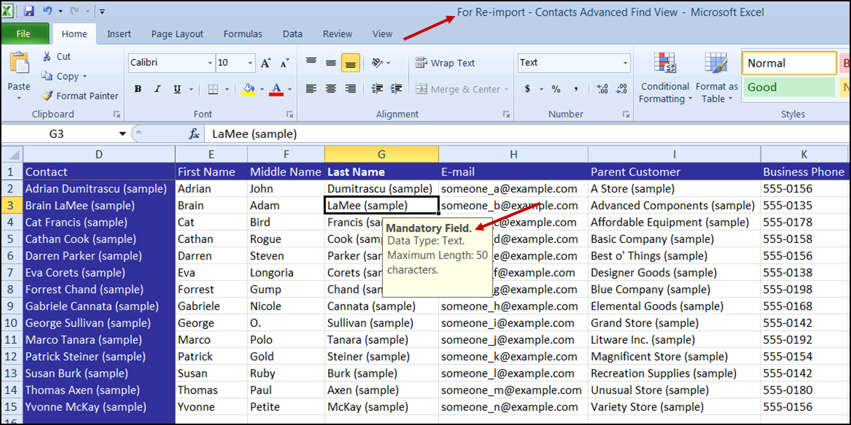 excel contacts templates
